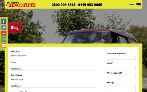 Screenshot of Blog nottinghamoffroadevents.co.uk - Blog | Nottingham Off Road Events Ltd - captured Oct. 26, 2014