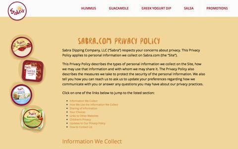Screenshot of Privacy Page sabra.com - Sabra - captured Sept. 14, 2016