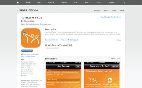 Screenshot of iOS App Page apple.com - Tutor.com To Go on the App Store on iTunes - captured Nov. 3, 2014