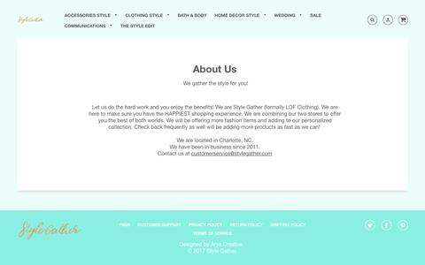 Screenshot of About Page stylegather.com - About Us – Style Gather - captured Nov. 11, 2017