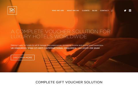 Screenshot of Home Page skchase.com - SK Chase | Digital Hotel Gift Voucher Management System - captured July 26, 2018