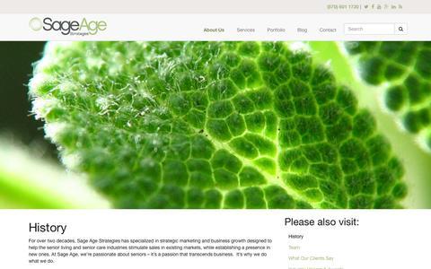 Screenshot of sageagestrategies.com - History | Sage Age Strategies - captured March 19, 2016