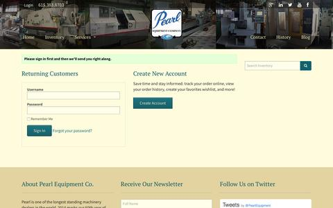 Screenshot of Login Page pearlequipment.com - Pearl Equipment - captured Oct. 28, 2016