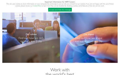 Screenshot of Jobs Page arm.com - ARM Careers - captured Nov. 17, 2016