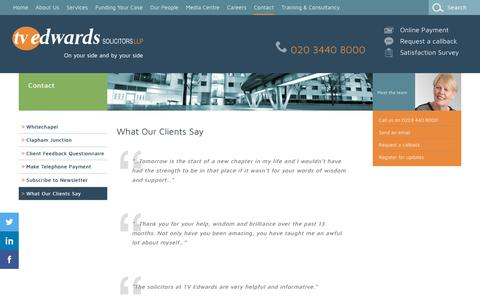 Screenshot of Testimonials Page tvedwards.com - What Our Clients Say  - TV Edwards Solicitors - captured Oct. 19, 2018
