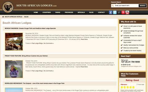 Screenshot of Blog south-african-lodges.com - South African Lodges   Great Lodges through out South Africa - captured Nov. 4, 2014