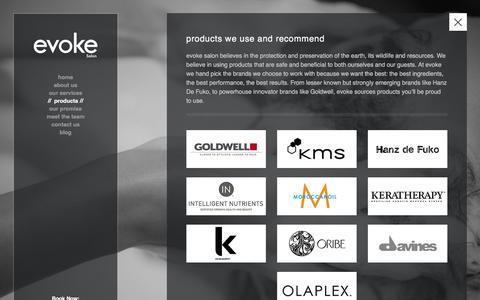 Screenshot of Products Page evokesalon.com - products � evoke salon - captured Dec. 15, 2015