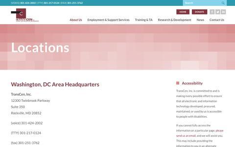 Screenshot of Locations Page transcen.org - Locations |  TransCen, Inc - captured Nov. 16, 2018