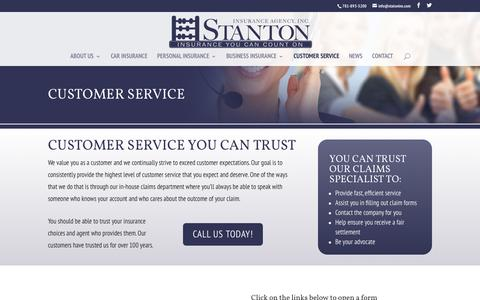 Screenshot of Support Page stantonins.com - Custom Service - Stanton Insurance Agency Waltham, MA - captured Dec. 16, 2016