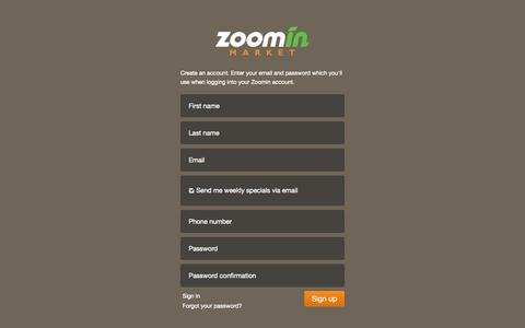 Screenshot of Signup Page zoominmarket.com - Zoomin Market   Online Grocery Store   Pickup Grocer - captured Oct. 9, 2014