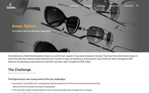 Screenshot of Case Studies Page bistasolutions.com - Bista Solutions: Amex Optics ERP Software|manufacturing erp case study - captured July 24, 2017