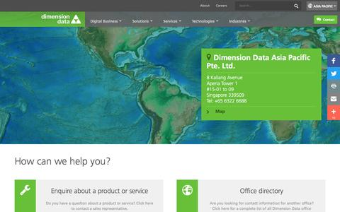 Screenshot of Contact Page dimensiondata.com - How can we help you? - captured Nov. 25, 2016