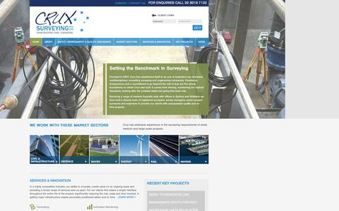 Screenshot of Home Page cruxsurveying.com.au - Crux Surveying - Consulting, Registered Land Surveyors, HDS and BIM Specialists - captured Feb. 1, 2016
