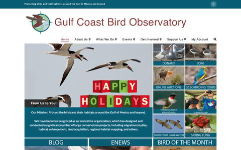 Screenshot of Home Page gcbo.org - Home - Gulf Coast Bird Observatory - captured Dec. 16, 2018