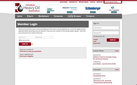 Screenshot of Login Page choa.ab.ca - Canadian Heavy Oil Association - captured Oct. 1, 2014