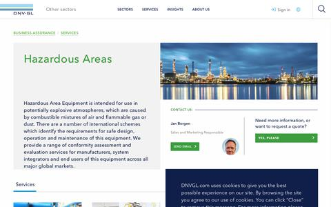 Screenshot of Services Page dnvgl.com - Hazardous Areas - DNV GL - captured Dec. 7, 2019