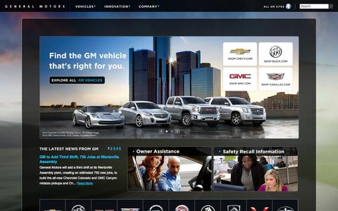 Screenshot of Home Page gm.com - General Motors | Official Global Site | GM.com - captured Sept. 18, 2014
