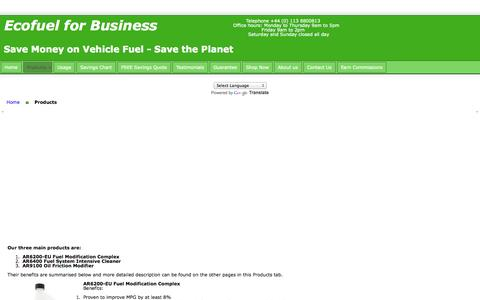 Screenshot of Products Page ecofuelforbusiness.co.uk - Ecofuel for Business - captured Oct. 1, 2014