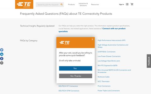Screenshot of FAQ Page te.com - Frequently Asked Questions (FAQs) about TE Connectivity Products   TE Connectivity - captured Sept. 23, 2018