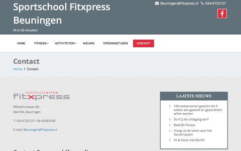 Screenshot of Contact Page fitxpressbeuningen.nl - Contact - Sportschool Fitxpress Beuningen - captured Aug. 4, 2016