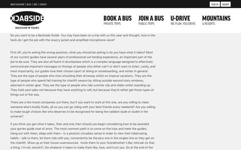 Screenshot of Jobs Page backsidetours.com - Want to be a part of our guide team? | Backside Tours - captured May 31, 2017