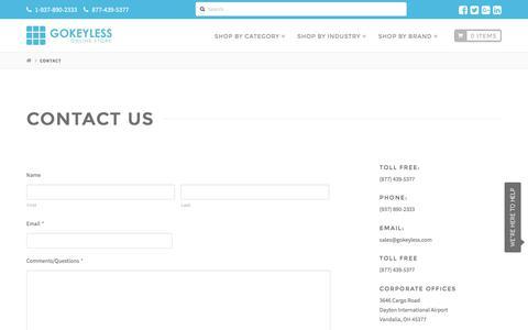 Screenshot of Contact Page gokeyless.com - Get Answers Now   Contact GoKeyless - captured Aug. 4, 2016