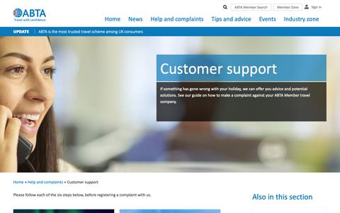 Screenshot of Support Page abta.com - Customer Support | Register a Travel or Holiday Complaint | ABTA - captured Nov. 6, 2018