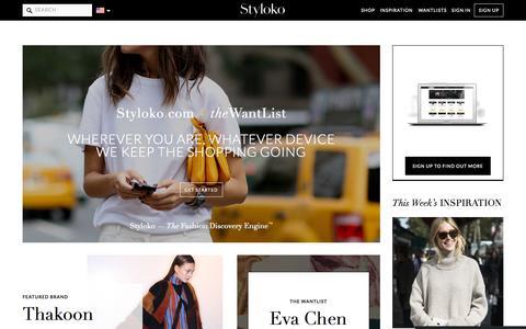 Screenshot of Home Page styloko.com - The Fashion Discovery Engine - Styloko - captured Oct. 1, 2015