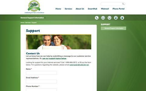 Screenshot of Support Page valleytel.net - Support - ValleyTel - captured Oct. 20, 2018