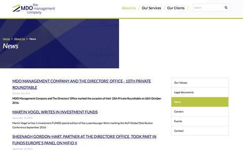 Screenshot of Press Page mdo-manco.com - News / About Us - MDO Management Company - captured Nov. 18, 2016