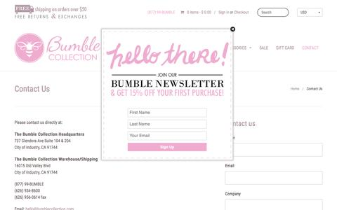 Screenshot of Contact Page bumblecollection.com - Diaper Bags, Baby Bags, Lunch Bags | Bumble Collection - captured Feb. 19, 2016