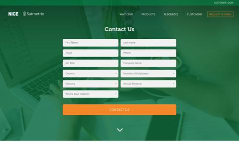 Screenshot of Contact Page satmetrix.com - Contact Satmetrix for Customer Experience Software - captured Jan. 17, 2018