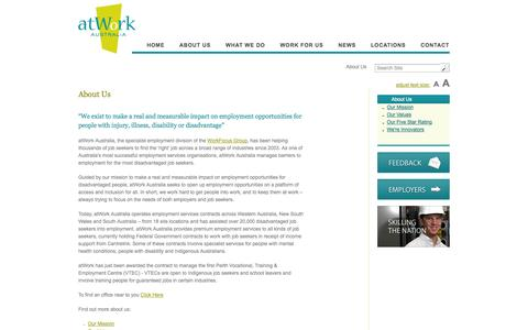 Screenshot of About Page atworkaustralia.com.au - About Us - atWork Australia - captured Sept. 30, 2014