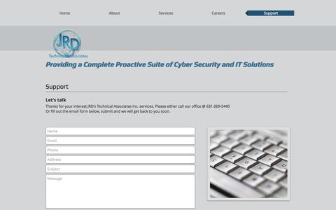 Screenshot of Support Page jrdtech.com - Proactive Suite of Computer Security, IT, Network & Cabling Solutions | Support - captured Oct. 6, 2017