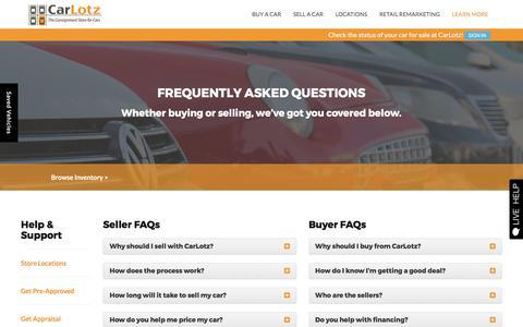 Screenshot of FAQ Page carlotz.com - FAQ's | CarLotz - captured April 3, 2017