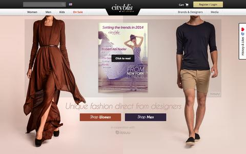 Screenshot of Home Page cityblis.com - Shop Unique Fashion directly from the Designers & Brands worldwide | Cityblis - captured Sept. 13, 2014