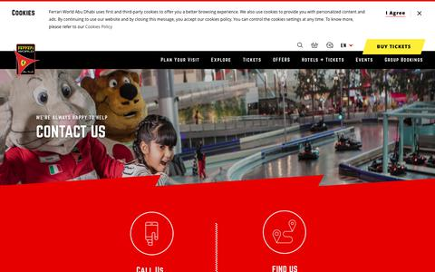 Screenshot of Contact Page ferrariworldabudhabi.com - Contact Us - Ferrari World Abu Dhabi - captured Aug. 13, 2018