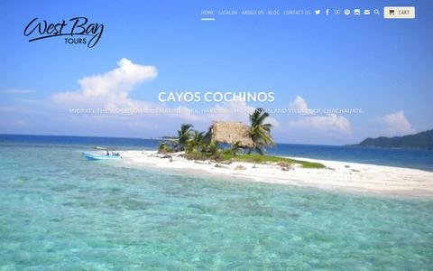 Screenshot of Home Page westbaytours.com - West Bay Tours- Roatan Private Tours, Catamarans And Boat Charters! - captured Feb. 27, 2016