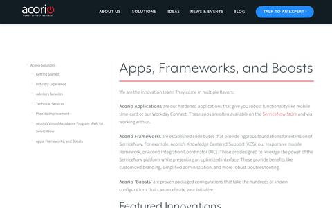 Apps, Frameworks, and Boosts at Acorio