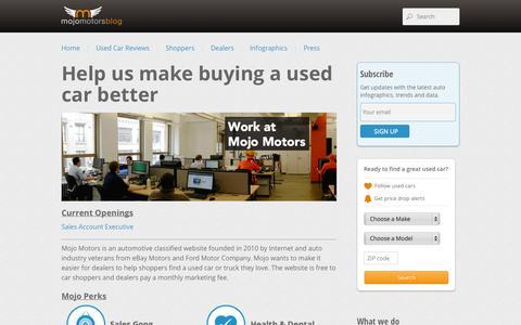 Screenshot of Jobs Page mojomotors.com - Culture | Mojo Motors Blog - captured Sept. 12, 2014