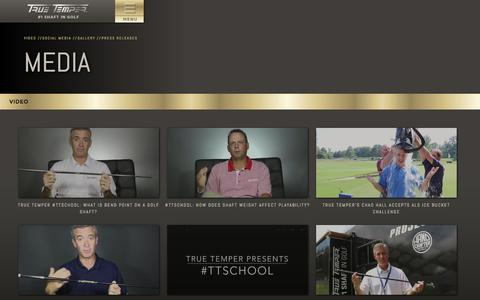 Screenshot of Press Page truetemper.com - True Temper Golf - captured Sept. 19, 2014