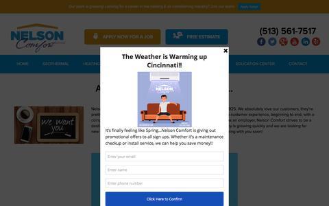 Screenshot of Jobs Page nelsoncomfort.com - Cincinnati HVAC Job Opportunities | Nelson Comfort - captured May 19, 2018