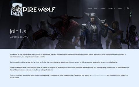 Screenshot of Jobs Page direwolfdigital.com - Careers |  Dire Wolf Digital, LLC - captured Jan. 7, 2016