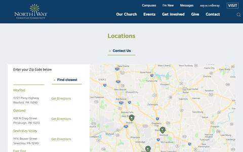 Screenshot of Locations Page northway.org - Find a church in Pittsburgh, PA, Pennsylvania - captured Oct. 18, 2018