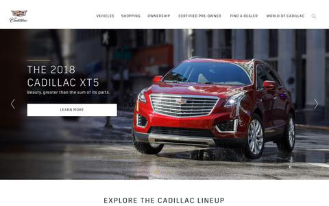 Screenshot of Home Page cadillac.com - Cadillac: Prestige Cars, SUVs, Sedans, Coupes & Crossovers - captured Jan. 28, 2018