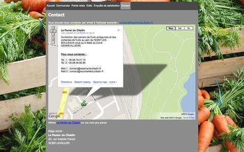 Screenshot of Contact Page lepanierducitadin.fr - Contact - Le Panier du Citadin - captured Oct. 2, 2014