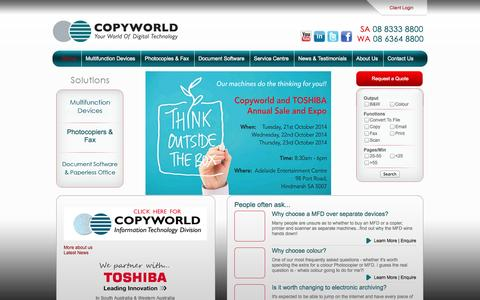 Screenshot of Home Page copyworld.com.au - Photocopiers, Multi-Function Devices, Printers, Fax with Document Management Solutions, Copyworld - Adelaide - Perth - captured Sept. 30, 2014