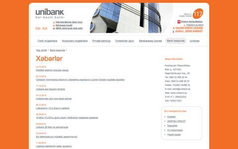 Screenshot of Press Page unibank.az - Xəbərlər - captured Oct. 27, 2014