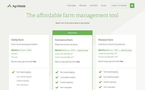 Screenshot of Pricing Page agriwebb.com - PRICING – AgriWebb - captured July 25, 2016
