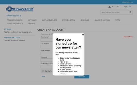 Screenshot of Signup Page powerwash.com - Create New Customer Account - captured Oct. 27, 2014